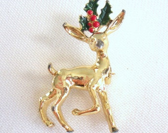 Gold Reindeer Pin/Brooch, Marked GERRY'S, Christmas Pin