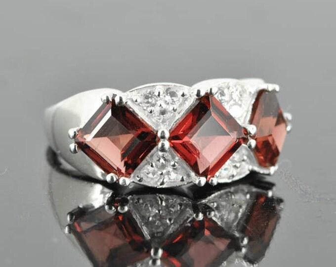 Garnet ring, sterling silver ring, gemstone ring, red, emerald cut, january birthstone, princess cut