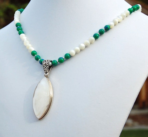 Mother of Pearl, Azurite Malachite Natural Stone Pendant Necklace