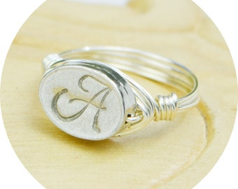 Personalized Monogram Ring-Sterling Silver Filled Wire Wrapped Ring with Any Initial Pewter Bead-Any Size 4, 5, 6, 7, 8, 9, 10, 11, 12,13,14