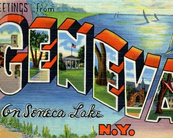Greetings from Geneva on Seneca Lake, NY Vintage Large Letter Postcard Giclee Print