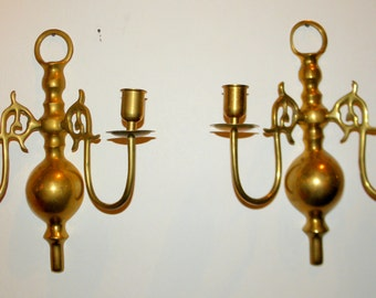 Two Brass Wall Candelabras