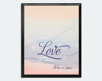Wedding Guest Book Poster PDF - Our Love is Written in the Stars - Personalized Printable