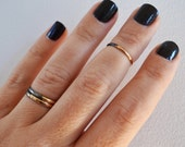 Set of 3 Crescent Rings, Knuckle Rings, Black and Gold Mid Knuckle Rings, Gold Stacking Rings in any sizes