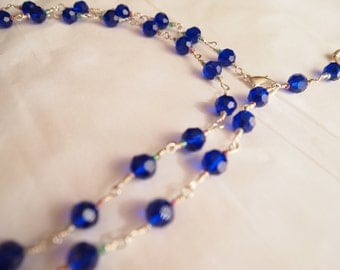 """34"""" Swarovski Hand Wire Wrapped Sterling Silver CONVERTIBLE necklace"""