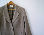 Mid Century Brown Wool Coat, Retro Woman Coat, Mad Men, Short Tailored Jacket, Size L, Winter Fashion, Gift for woman