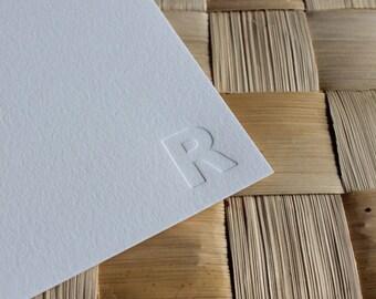 Letterpress Monogram Stationery - Set of 10, Blind Impression Note Cards, Letterpress Note Card Set, Personalized Letterpress Stationery