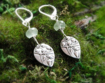 Woodland Vine Earrings with Prehnite- Handcrafted with Recycled Fine Silver