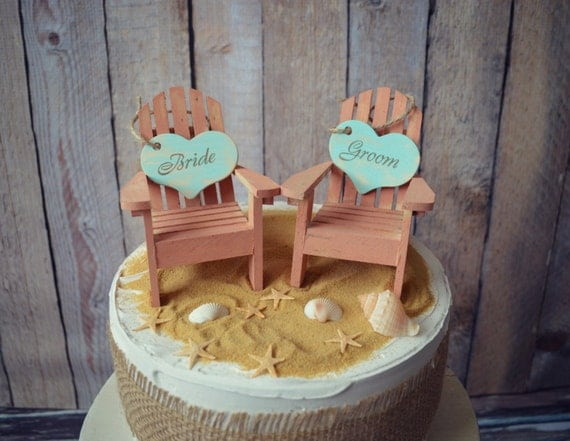 Beach-wedding-cake topper-destination-tropical-Adirondack-chairs-Mr and Mrs-bride-groom-custom-miniature-small chairs-starfish-beach cake