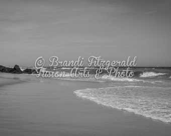 Black and White Ocean Fine Art Photograph Ebb and Flow Tides Beach Photography At Checkout, Choose Lustre Print or Gallery Wrapped Canvas