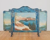 Vintage Crater Lake Original Oil Painting Fireplace Screen