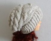 Unisex knit  slouchy - beanie hat - Slouch Beanie - Large hat - chunky hat - Chunky Knit Winter Fall Accessories  Knit Cable hat #8