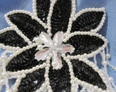 Large Black Sequin and White Beaded Floral Applique Clear Center