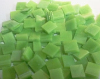 LIME GREEN OPAL Mini Tiles Stained Glass Mosaic Supply A37/O4