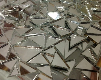 50 TRIANGLE MIRROR TILES Mix - Stained Glass Mosaic Supply M6