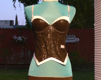 black and white tux boned corset top size 36b
