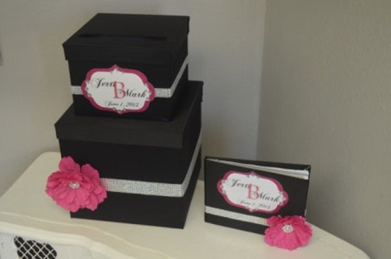 Black Hot Pink and Bling-Monogram-Wedding Card box/Guest Book - black satin and rhinestones