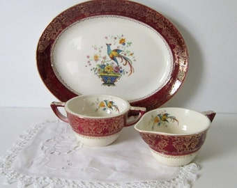 Salem Century Sugar Creamer Set Vintage Serving Hollywood Regency Victorian Dinnerware Gold Maroon Ornate Birds Florals