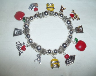 School Days Charm Bracelet Loaded With Enamel Charms