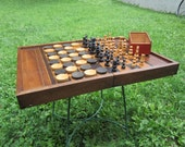 Large Antique French Backgammon Chess Checkerboard with wooden chessmen and draught pieces - LadyNinaNana
