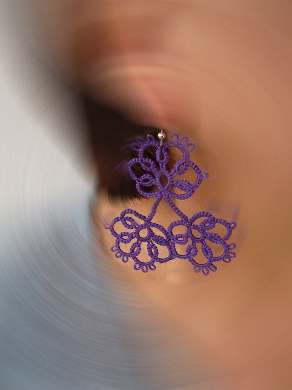 "Tatting earrings ""Violets ""- handmade jewelry - lace earrings - Bridesmaid - OOAK - Wedding -gift for birthday"