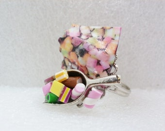 Sweet Candy Shop Ring. Polymer Clay.