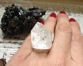 ANGEL / Raw Clear Apophyllite Gemstone Crystal Pyramid Adjustable Silver Statement Ring, Natural Glam, Metaphysical, Fall, Winter, Fashion