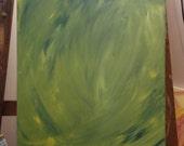 Green fairy acrylic painting