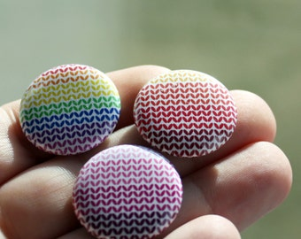 Warm Color Knitting Pinback Buttons set of 3 - 1 inch