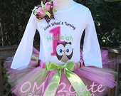 Look Whoo's Turning ONE Big Owl-1st birthday outfit includes Shirt, Tutu, and Hairbow-PERSONALIZED