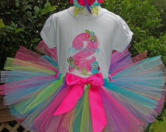 Birthday TUTU Outfit - Flowers and Owl -  includes Shirt or Onesie, Bow and Tutu