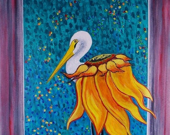 Beach Painting Crane Painting  Sunflower Painting  Original Acrylic Painting Bird Painting Fantasy Painting