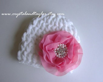 Sale, Baby Girl Hat, Baby Hat, Flower Hat, Photo prop, Newborn Hat, Baby Flower Hat, White and Pink