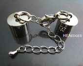 2 Sets Silver End Cap 10mm - Finding Silver Round Tone Leather Cord Ends Cap With Lobster Clasp Buckle and Extender ( Inside 10mm Diameter )