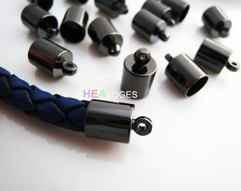 Finding - 20 pcs Gunmetal Black Leather Cord Ends Cap with Loop For Round Leathers 13mm x 8mm ( inside 7mm Diameter )