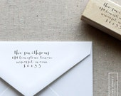 Address Stamp, Self Inking Stamp or Wooden Handle Stamp - Modern Calligraphy - Style 2