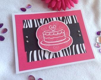 Happy Birthday, Birthday Card, Birthday Wishes, HBD, Birthday, Cake Day, Sweet Sixteen, Sweet 16, 16th Birthday, Zebra Card