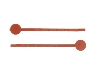 Rusty Orange Bobby Pins with 8mm glue pads