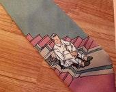 1980s Claude Montana tie man in pajamas doing deep thinking design