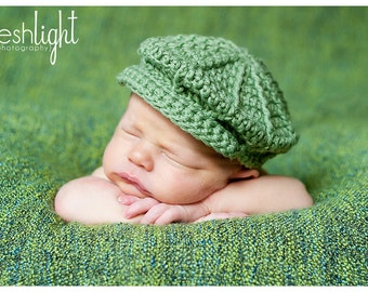 Crochet Baby Newsboy Hat Pattern for Newborn to Toddler
