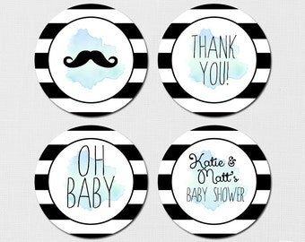 Mustache Or Lips - Printable Gifts tags, Cupcake Toppers, Favor Tag - DIY
