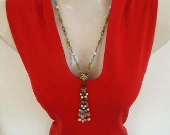 Vintage Glass Bead and Faux Pearl necklace