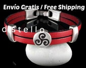 FREE SHIPPING - Triskele bracelet, Mens leather bracelet, Celtic bracelet, Triskelion bracelet, Celts, Womens jewelry, Unisex gift, Handmade