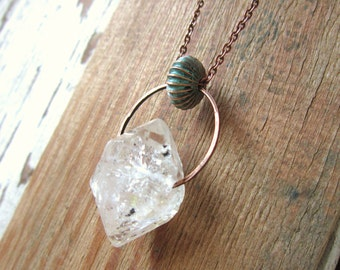 Crystal Rough Cut Nugget Necklace. Long Chain Clear Quartz Necklace. Verdigris Necklace. Verdigris Jewelry. Crystal Jewelry