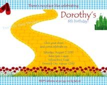 Wizard of Oz invitation, wizard of oz, dorothy birthday, birthday invitations