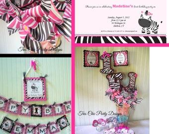 Hot Pink Zebra birthday decoration, zebra print decorations, zebra print birthday package, pink zebra birthday, zebra birthday decorations