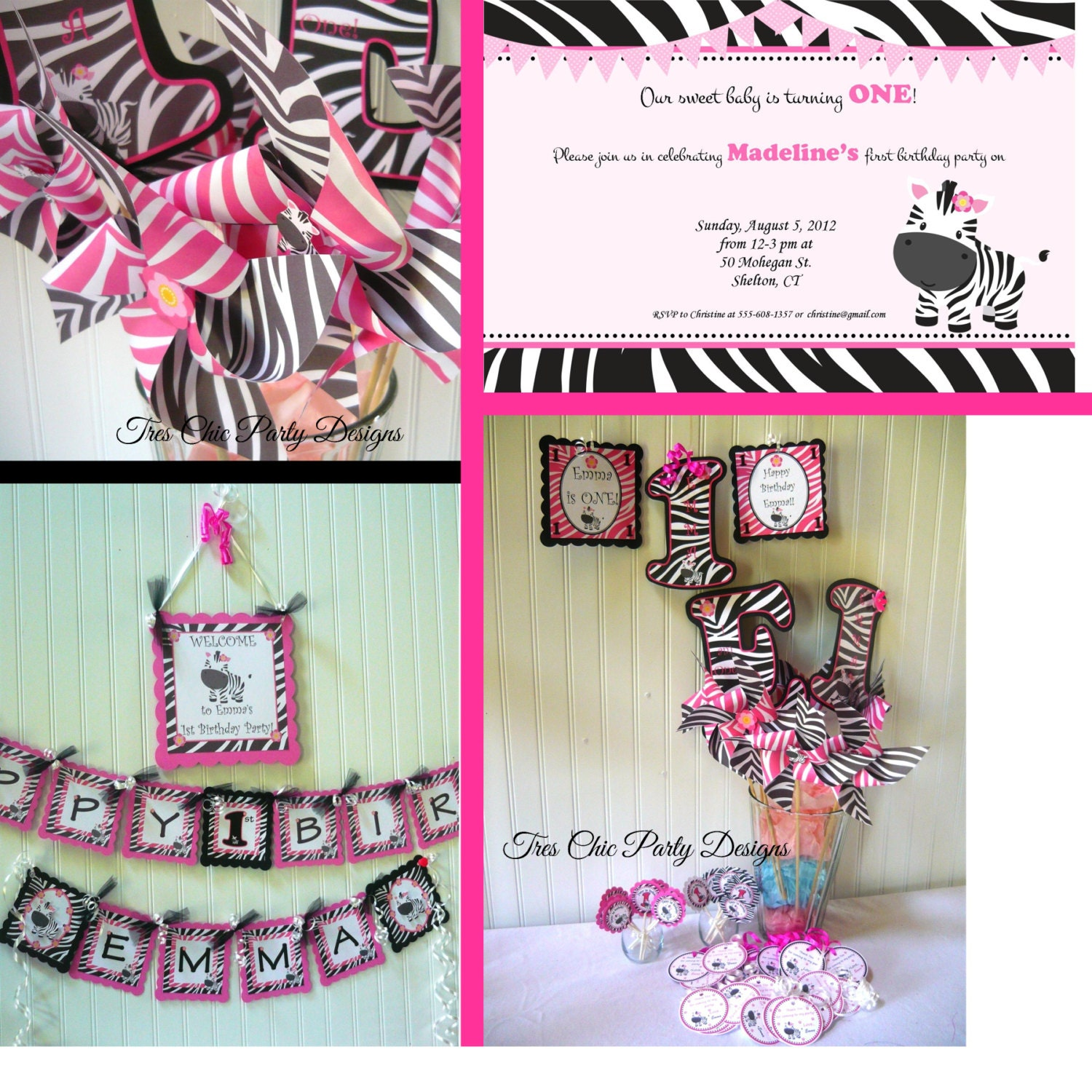 hot pink zebra birthday decoration zebra print decorations. Black Bedroom Furniture Sets. Home Design Ideas
