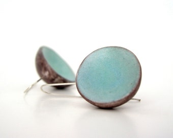 Aquamarine blue and brown clay minimal earrings, March earrings air dry modern dome earrings turquoise earrings faux ceramic sterling silver