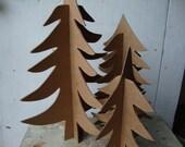 Three 3 Dimensional Christmas Trees