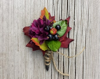 Fall wedding Maple Berry Harvest Wedding Boutonniere